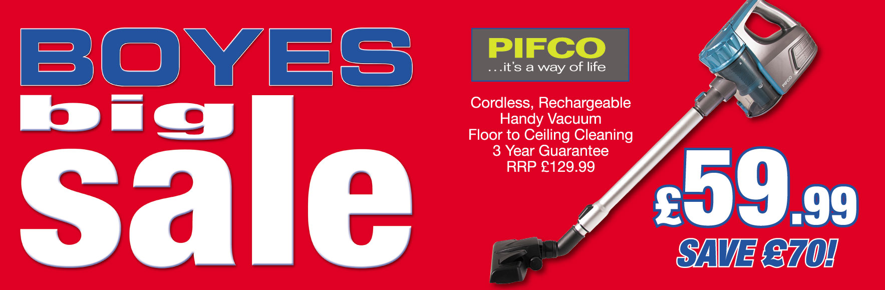 Pifco Cordless Rechargeable Handy Vacuum HALF RRP