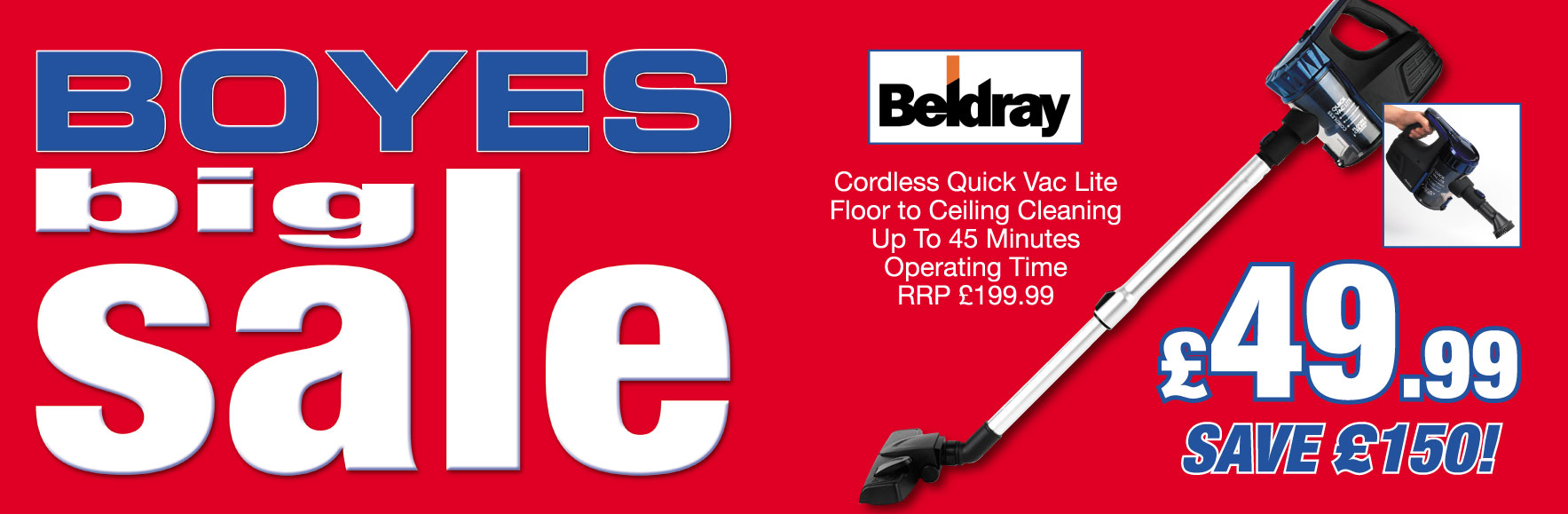 'Beldray' Cordless Quick Vac Lite. Floor to Ceiling Cleaning. RRP £199.99. Now £49.99!