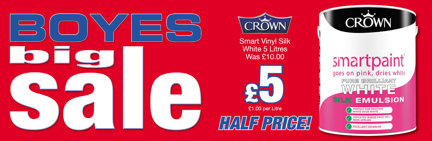 'Crown' Smart Vinyl Silk. White. 5 Litres. Was £10.00. Now £5!