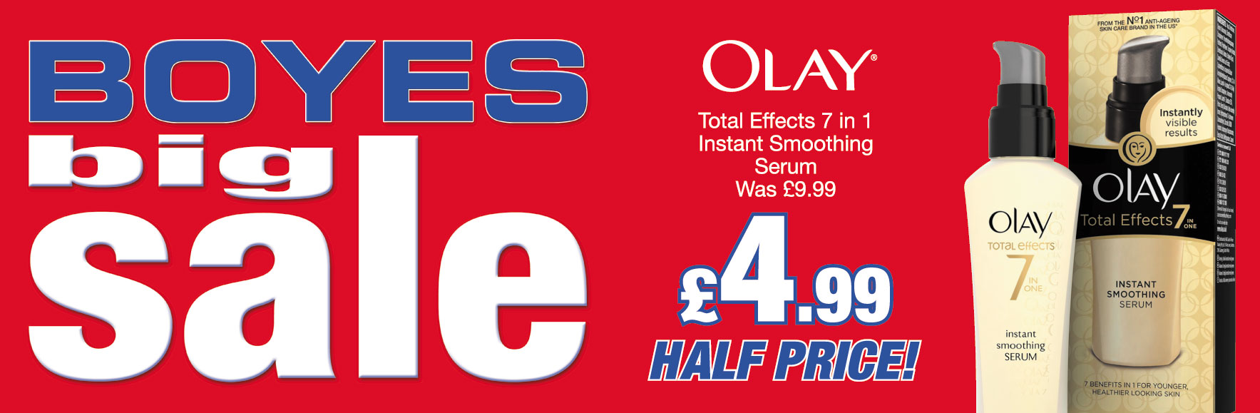 Olay Total Effects 7 in 1 Instant Smoothing Serum Was £9.99 ONLY £4.99