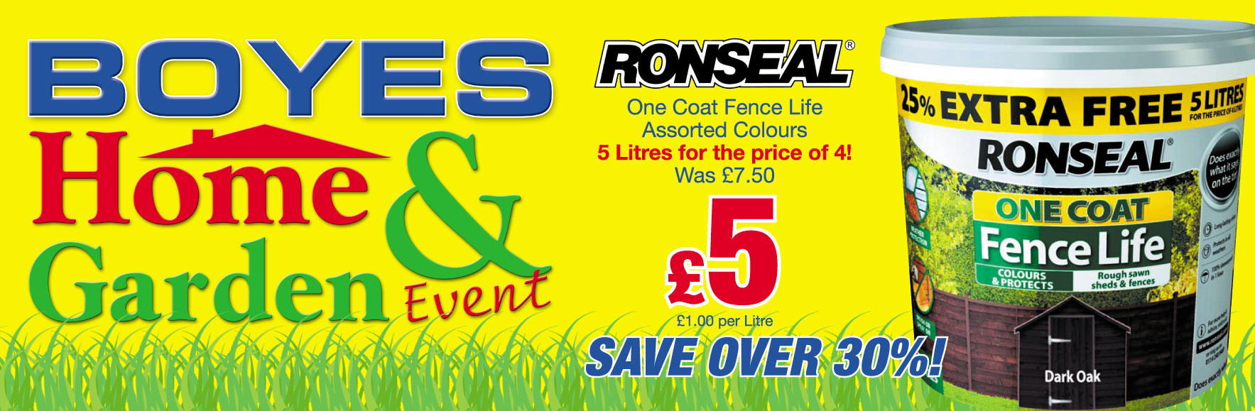 Ronseal One Coat Fence 5 litres for the price of 4. Was £6.99 NOW £4.99