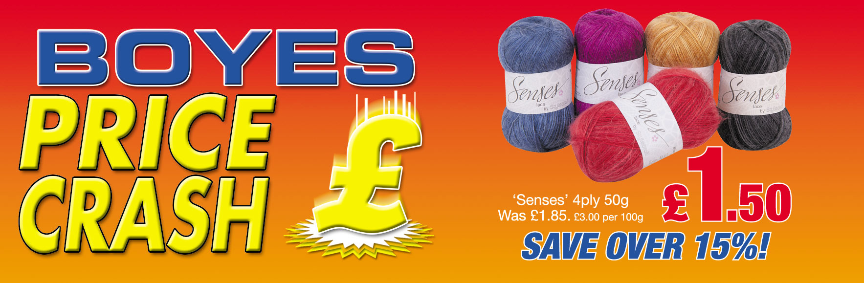 Senses Wool 4ply 50g Was £1.85 now £1.50