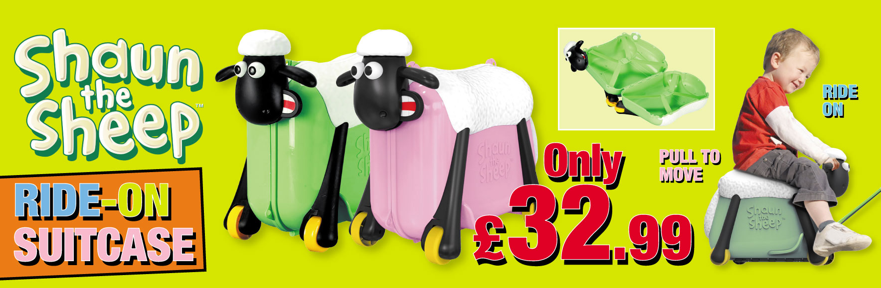 Shaun the sheep ride-on suitcase ONLY £32.99