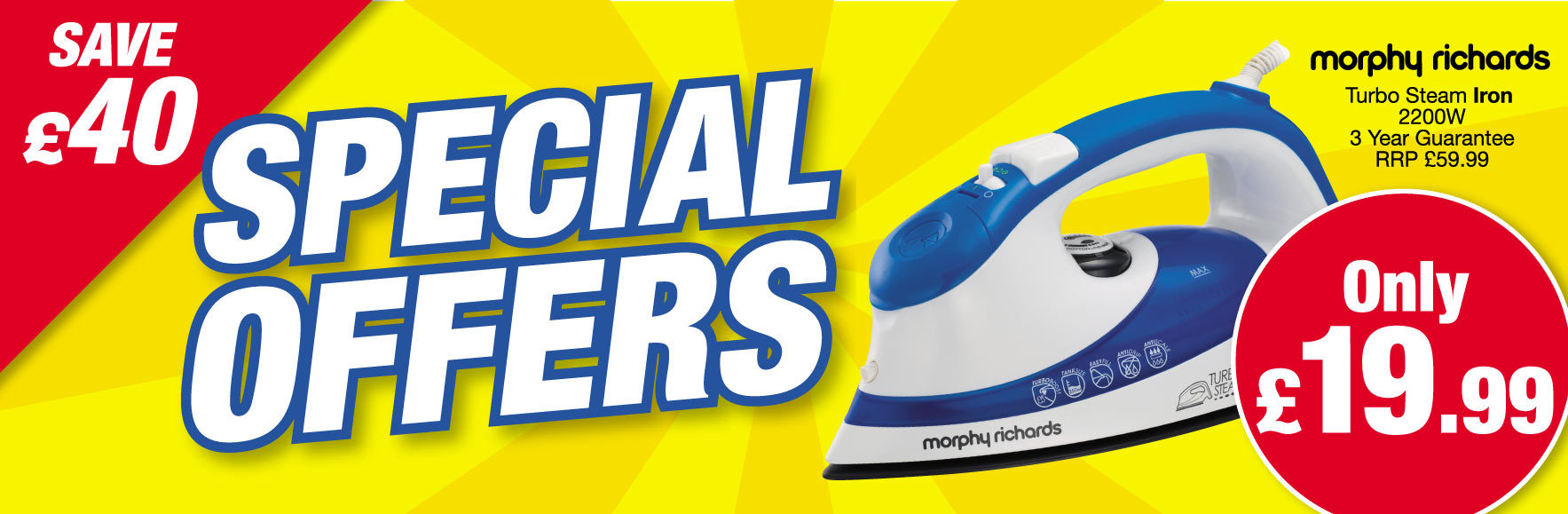 Morphy Richards turbo steam iron 2200W. SAVE £40 OFF RRP! ONLY £19.99