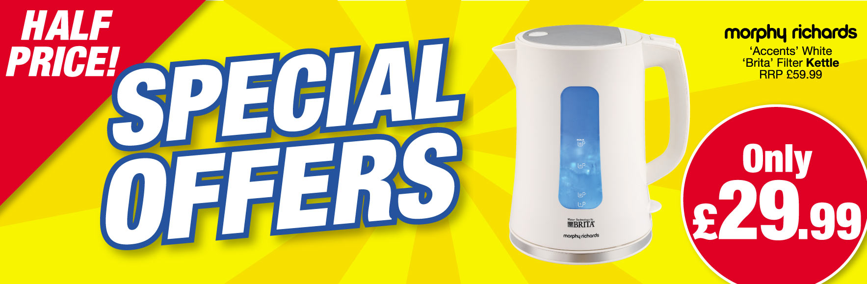 Morphy Richards 'Accents' White 'Brita' Kettle. RRP £59.99 ONLY £29.99