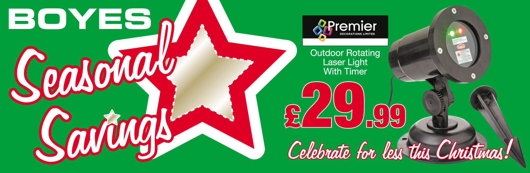 Premier Outdoor Rotating Laser Light With Timer Only £29.99
