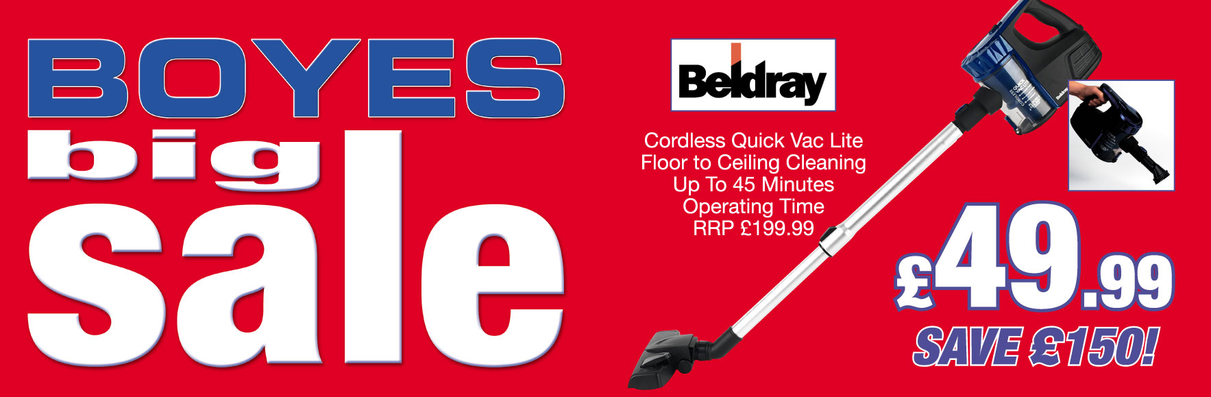 Beldray Cordless Quick Vac Lite. RRP £199.99. ONLY £49.99. Save £150!