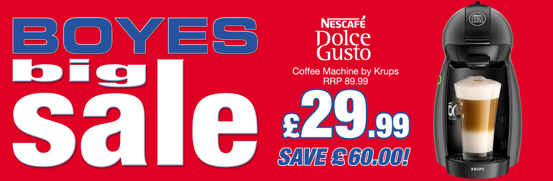 Nescafe Dolce Gusto Coffee machine by Krups. RRP £89.99. ONLY £29.99. Save £60!