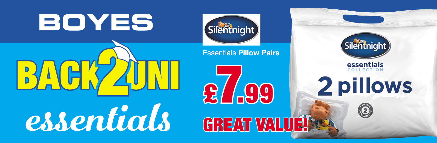 Silentnight Essential Pillow Pairs. £7.99 GREAT VALUE!