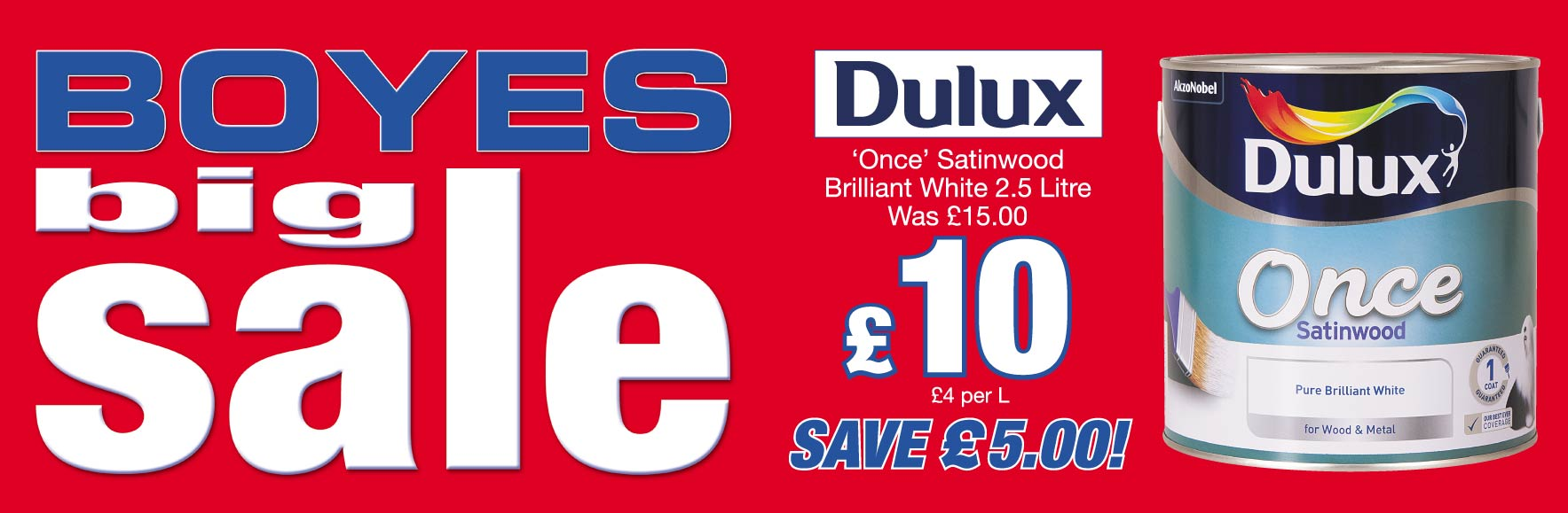 Dulux 'Once' Satinwood Pure Brilliant White Paint. Was £15.00 NOW £10!