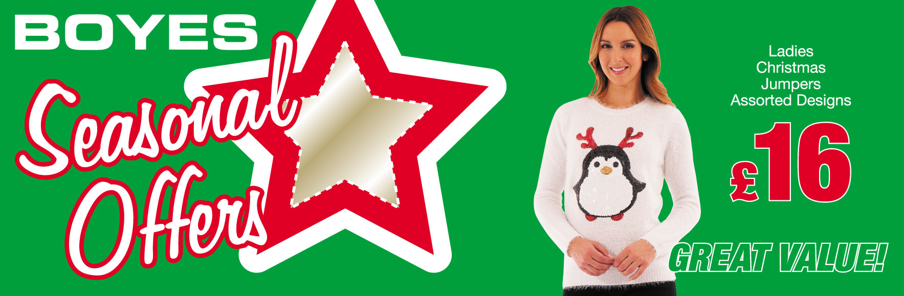 Ladies Sequin Penguin Christmas Jumper. ONLY £16